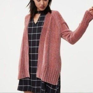 Loft Chenille Open Front Cardigan Rose Pink Womens